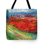 Tuscany Italy Landscape Poppy Field Tote Bag