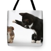 Tuxedo Kitten With Guinea Pig Tote Bag