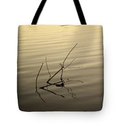 Twigs Breaking The Calm Surface Of The Lake On Sunset Tote Bag