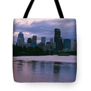 Twilight On The Bow River And Calgary Tote Bag