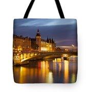 Twilight Over River Seine And Conciergerie Tote Bag