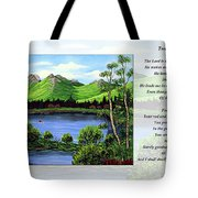 Twin Ponds And 23 Psalm On White Tote Bag