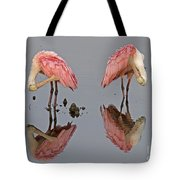Twins Spoonbills On The Lake Tote Bag