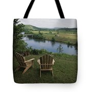 Two Adirondack Chairs On A Scenic Tote Bag