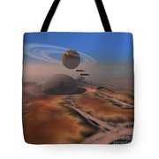 Two Aircraft Fly Over Domes Tote Bag