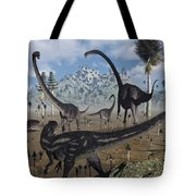 Two Allosaurus Predators Plan Tote Bag