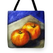 Two Apples With Blue Tote Bag