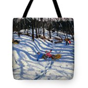 Two Boys Falling Off A Sledge Tote Bag