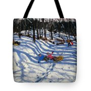 Two Boys Falling Off A Sledge Tote Bag by Andrew Macara