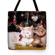 Two Cats At Christmas Tote Bag