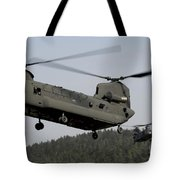 Two Ch-47 Chinook Helicopters In Flight Tote Bag