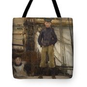 Two Children On Deck Tote Bag