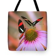Two Colorful Butterflies On Cone Flower Tote Bag
