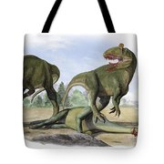 Two Cryolophosaurus Ellioti Dinosaurs Tote Bag