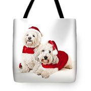 Two Cute Dogs In Santa Outfits Tote Bag