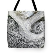 Two Cyclones Forming Tote Bag