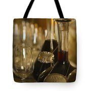 Two Decanters Of Port Wine And Glasses Tote Bag