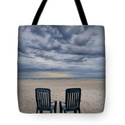 Two Deck Chairs At Sunrise On The Beach Tote Bag