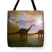 Two Diplodocus Dinosaurs Wade Tote Bag
