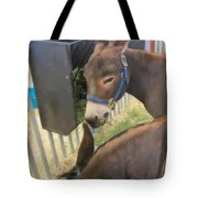 Two Donkeys Eating Tote Bag by Donna Munro