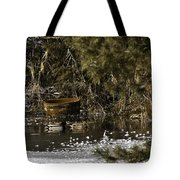 Two Ducks And A Tub Square Tote Bag