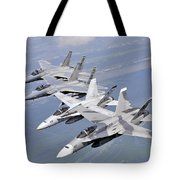 Two Fa-18 Hornets And Two F-15 Strike Tote Bag