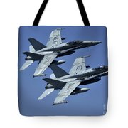 Two Fa-18c Hornets In Flight Tote Bag