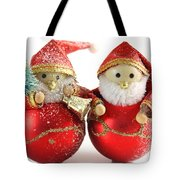 Two Father Christmas Decorations Tote Bag