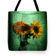 Two Flowers On Texture Tote Bag