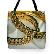 Two Green And Gold Bangles On Top Of Each Other Tote Bag
