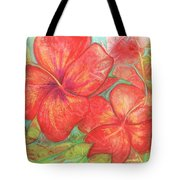Two Hibiscus Blossoms Tote Bag