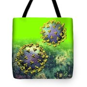Two Hiv Particles On Bright Green Tote Bag