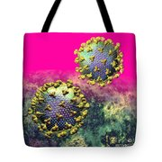 Two Hiv Particles On Hot Pink Tote Bag