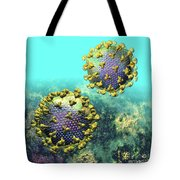 Two Hiv Particles On Light Blue Tote Bag
