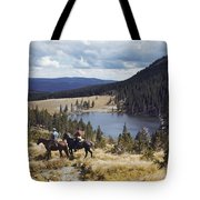 Two Horsemen Ride Above Pecos Baldy Tote Bag