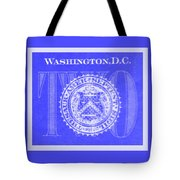 Two In Negative Blue Tote Bag