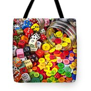 Two Jars Dice And Buttons Tote Bag