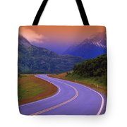 Two Lane Country Road In Mountains Tote Bag