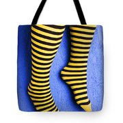 Two Legs Against Blue Wall Tote Bag by Garry Gay