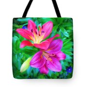 Two Lily Flowers Tote Bag