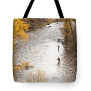 Two Men Flyfishing On The Aspen-lined Tote Bag
