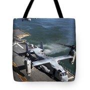 Two Mv-22 Ospreys Land On The Flight Tote Bag