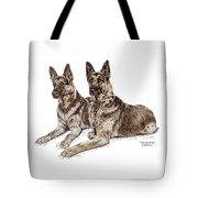 Two Of A Kind - German Shepherd Dogs Print Color Tinted Tote Bag