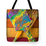 Two Paintbrushes On Paint Rollers Tote Bag
