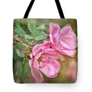 Two Pink Roses II Blank Greeting Card Tote Bag
