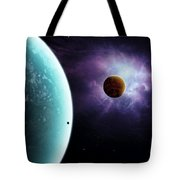 Two Planets Born From The Same Star Tote Bag