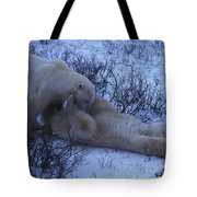 Two Polar Bears Wrestle In The Snow Tote Bag