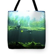 Two Scuba Divers In The Cenote System Tote Bag by Karen Doody