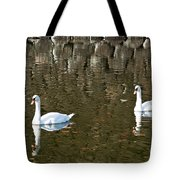 Two Swan Floating On A Pond  Tote Bag