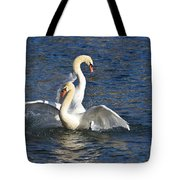 Two Swans Playing Tote Bag